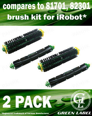 2Pack Brush Kit for iRobot Roomba 500 Series (OEM# 82501, 82301). By Green Label