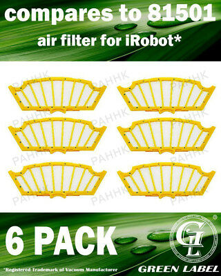 6 Pack Air Filter for iRobot Roomba 500 Series (OEM# 81501). By Green Label