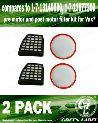 2Pack Filter Kit Vax Power 7 OEM# 1713085200/173140000/1713077200 By Green Label
