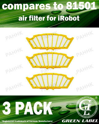 3 Pack Filter for iRobot Roomba 500 Series (compares to 81501). By Green Label