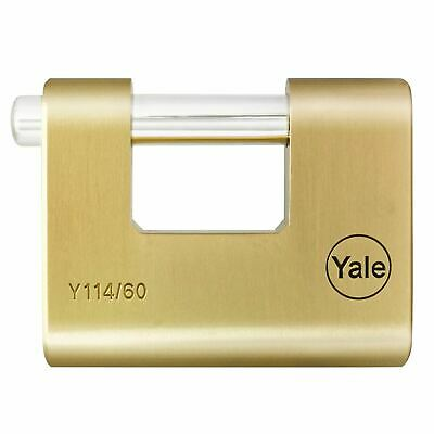 Yale Y114 Shutter Padlock 60mm Brass Armoured Solid Lock Outdoor High Quality