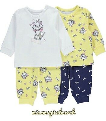 Brand New Baby Girl's Disney Nightwear Aristocats Marie 2 Pack Pyjamas