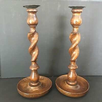 Pair of Matching Treen Wood Candlesticks Barley Twist Stems Probably Early 20thC