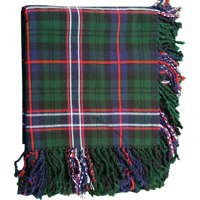 "TE Kilt Fly Plaid Scottish National Tartan Acrylic Wool 48"" X 48"" Purled Fringe"