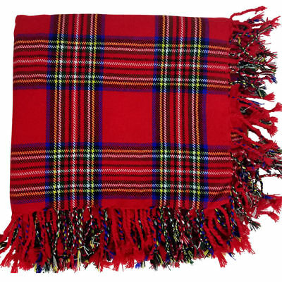 "Scottish Kilt Fly Plaid Royal Stewart Tartan Acrylic Wool 48""X48"" Purled Fringe"