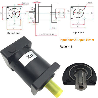 NEMA23 Planetary Gearbox 4:1 Speed Reducer 8mm Shaft for 57mm Stepper Motor
