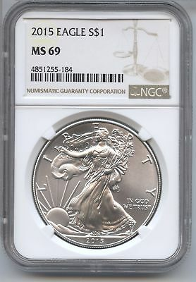 2015 American Eagle Silver Dollar 1 oz NGC MS 69 Certified - Philadelphia AS804