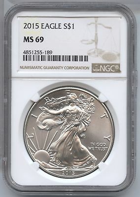 2015 American Eagle Silver Dollar 1 oz NGC MS 69 Certified - Philadelphia AS803