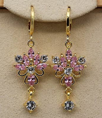 18K Yellow Gold Filled - 1.6'' Lotus Flower Pink Topaz Hoop Cocktail Earrings