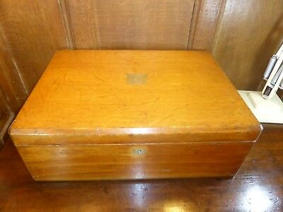 VGC ANTIQUE Empty WOODEN CANTEEN/CUTLERY BOX - 2 TRAYS - BRASS HANDLES