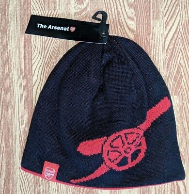 OFFICIAL ARSENAL FOOTBALL CLUB REVERSIBLE CANNON BEANIE HAT SIZE 56cm BRAND NEW