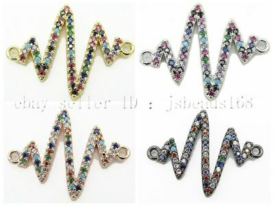 Multicolor Zirconia Gemstones Pave Lightning Bracelet Connector Charm Beads Gold