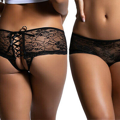Crotchless Open Bottom Lace Lace-up Thong Panties Knickers Sizes XS -  XXL