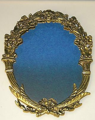 Vintage Cast Iron Gold Gilt Oval Ornate Decorative Vanity Wall Hanging Mirror