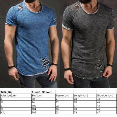 f9d1cd49 Men's Slim Fit O Neck Short Sleeve Muscle Tee T-shirt Ripped Casual Tops  Blouse