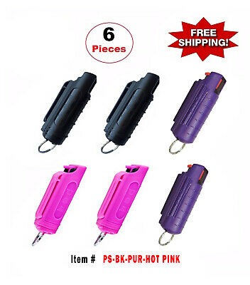 6 Pcs *Mix-Color* Police Magnum .5oz Injection Molded Key Chain Pepper Spray