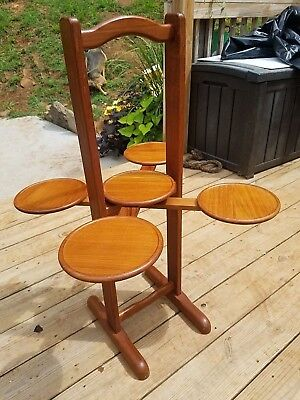 """33"""" Antique Wood 5 Folding Cake Pie Pastry Stand Table Rack Display Folds Small"""