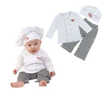 3PCS Baby Boys Cook Chef Outfit Shirts Pants Hat Party Fancy Costume Cosplay