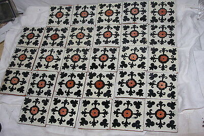 28 Vintage Hand Made Red Terracotta Clay Enamel Arched Tiles Southwestern Design