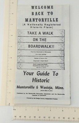 1970s-80s Mantorville MN Wasioja Walking Tourist Guide City Map Boardwalk Hubbel