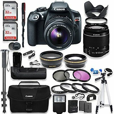 Canon EOS Rebel T6 Camera + Canon 18-55mm IS II Lens Kit +  Deluxe Bundle