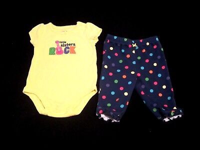 Baby Girls Carters, Little Sisters Rock,Yellow/Blue Two piece Outfit Size 3M