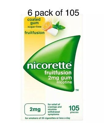 Nicorette Fruitfusion Chewing Gum, 2 mg, 105 Pieces — 6 Packs Of 105 Exp-03/2022