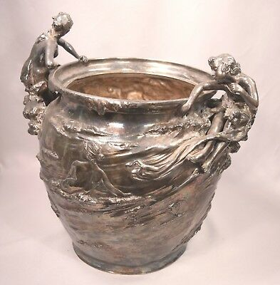Exquisite Antique Art Nouveau Silvered Metal Mermaid Vase