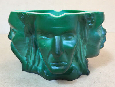 """Signed Moser """"4 Faces of Humanity"""" Malachite Glass Ashtray"""