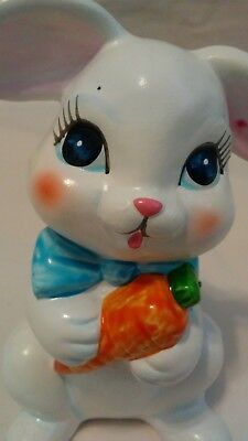 """Handpainted Bunny Collectible 4 1/2"""" Japan White Rabbit Blue Bow Big Eyes CUTE!"""