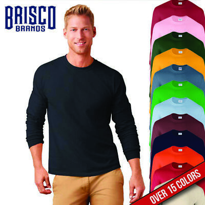 Brisco Heavy Cotton 5.2 oz Adult Blank Color Plain Long Sleeve T Shirt Tee Top