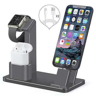 Apple Watch Space Grey Stand iPhone X/8/7+ Charging Dock Station AirPods Holder