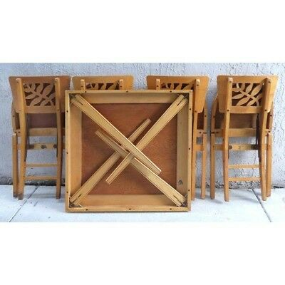 Mid Century Modern Stakmore Folding Table And Chairs Set