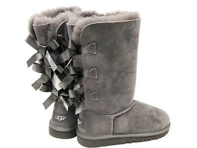 UGG Australia Kids Bailey Bow Triplet Triple Tall Boot 1007309K Grey Girls