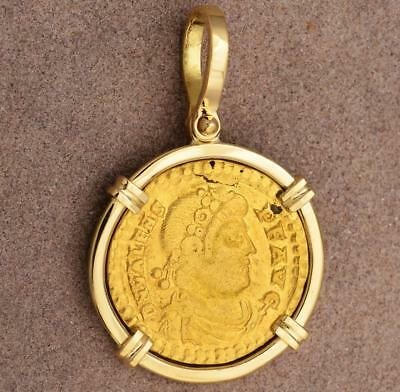 Ancient Roman Gold Solidus Coin in Solid 18kt Gold Pendant Valens A.D. 364-378