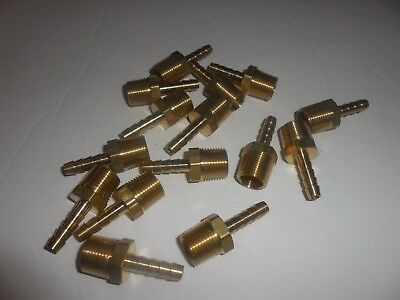 1/4 Inch Male Npt X 3/8 Inch Hose Barb  Brass Fitting   -    Lot Of 15