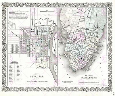 Map Antique 1855 Colton Savannah Charleston City Plans Replica Canvas Art Print