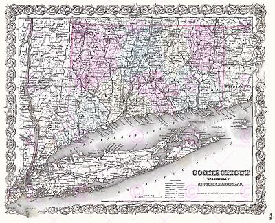 Map Antique 1855 Colton Connecticut New York Large Replica Canvas Art Print