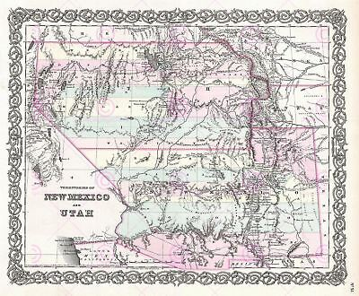 Map Antique 1855 Colton New Mexico Utah USA Large Replica Canvas Art Print