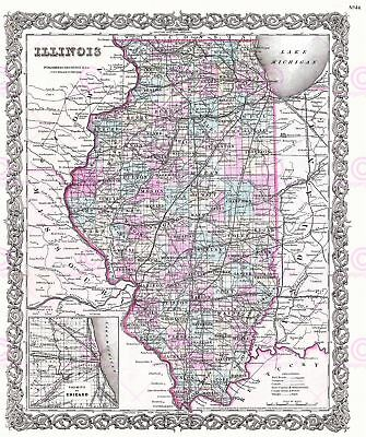 Map Antique 1855 Colton Illinois State USA Large Replica Canvas Art Print