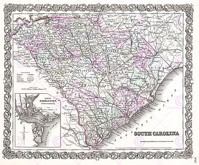 Map Antique 1855 Colton South Carolina State USA Replica Canvas Art Print