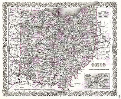 Map 1855 Colton Ohio State USA Historic Large Canvas Art Print