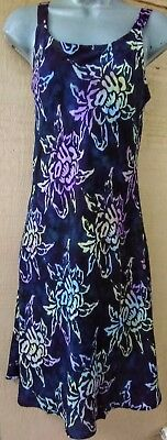 Batik Bali tank top sun dress navy blue floral slip on flare skirt M