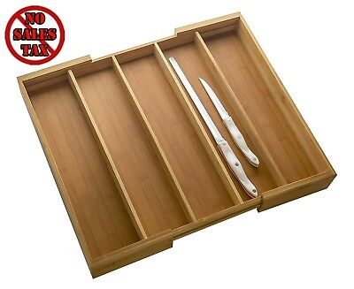 Totally Bamboo Expandable Cutlery Tray Drawer Organizer Kitchen Dining New