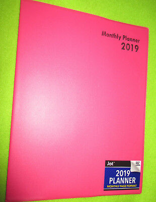 """2019 NEON PINK -  10X7.5"""" MONTHLY  LINED Executive PLANNER - Notes Contacts  NEW"""