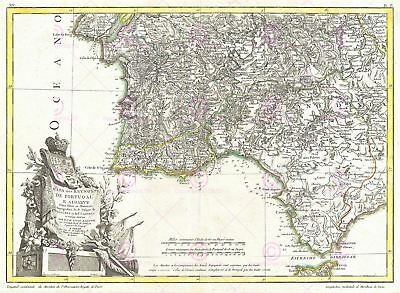 Map Zannoni 1775 South West Iberia Old Large Canvas Art Print