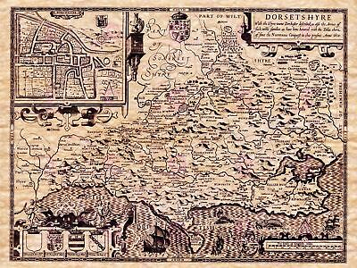 Map Antique Speed 1610 Dorset County Historic Large Replica Canvas Art Print