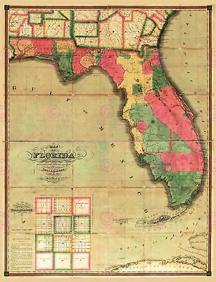 Map Antique Searcy 1829 Florida Old Historic Large Replica Canvas Art Print