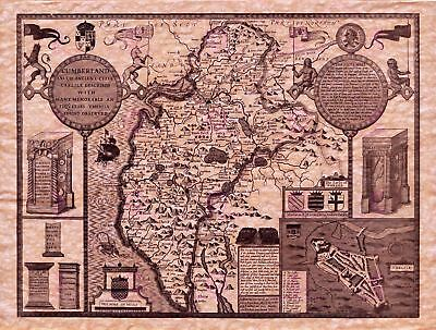 Map Antique Speed 1610 Cumberland County Old Large Replica Canvas Art Print