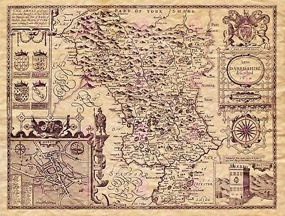 Map Antique Speed 1610 Derbyshire County Old Large Replica Canvas Art Print